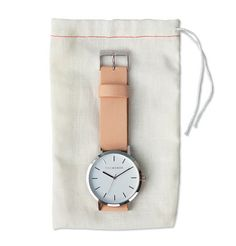 Polished Steel / White Face / Vegetable Tan Strap