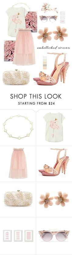 """""""embellished shoes"""" by heloisacintrao ❤ liked on Polyvore featuring Van Cleef & Arpels, Mother of Pearl, Christian Louboutin, Oscar de la Renta, Jimmy Choo, flamingo and embellishedshoes"""