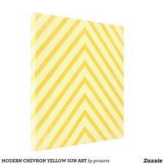 MODERN CHEVRON YELLOW SUN ART CANVAS PRINT