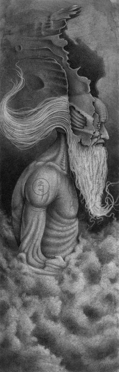 The Gatekeeper. Graphite and pencils on watercolor paper. 42x15cm (That's a watermark on the shoulder)