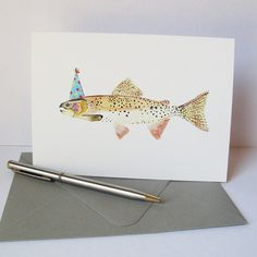Trout Birthday Card  Birthday Card for Dad by SnoogsAndWilde, $5.25