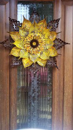Hand Painted Aluminum Sunflowers and mirrors.