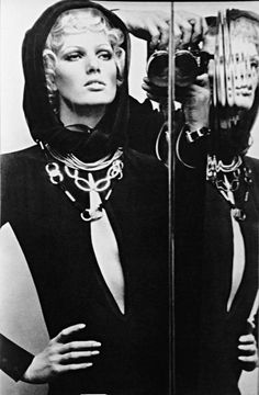 Helmut Newton in ELLE - YSL jersey dress - Haute couture spring 69