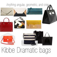 Kibbe Dramatic bags by furiana on Polyvore featuring Sophie Hulme, Kate Spade, Milly, Valentino, Fendi, Baguette....., BCBGMAXAZRIA, Acne Studios and Givenchy