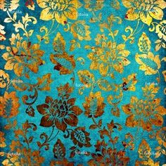 turquoise/teal and gold wallpaper Vintage Floral Backgrounds, Background Vintage, Chinese Background, Golden Background, Patterns Background, Turquoise Wallpaper, Gold Wallpaper, Oriental Wallpaper, Bathroom Wallpaper
