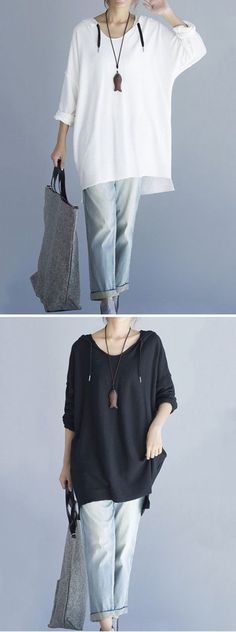US$24.89 O-Newe Plus Size Loose Solid Long Sleeve High Low Hoodie For Women