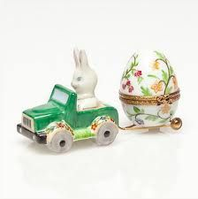 Limoges Trinket Box - Bunny Driving Car Towing Pretty Easter Egg.