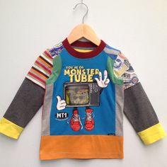 Jongens shirt met lange mouw gemaakt van hergebruikte t-shirts Monster Tube maat 98/104