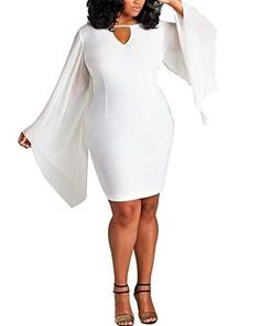 Women Plus size Chiffon Sleeve Bodycon Dress Clubwear White
