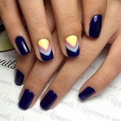 Blue gel nail polish Blue gel polish for nails Blue nails ideas Blue shellac nails Dark blue nails Evening nails Geometric nails Ideas of winter nails Chevron Nail Designs, Chevron Nail Art, Simple Nail Art Designs, Gel Nail Designs, Nails Design, Blue Shellac Nails, Diy Nails, Acrylic Nails, French Nails