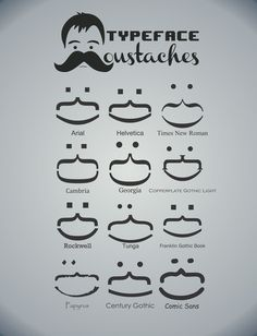 "Typeface Moustaches  by Kody Christian  ART PRINT / MINI (8"" X 10"")  $20.00"