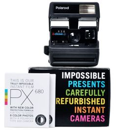 Vintage Polaroid cameras at Fab.  Reconditioned ones are available from The Impossible Project.  Or you can take a chance a get one from a car boot sale for a few pounds.