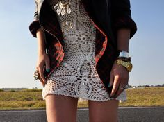 crochet tunic and a man's jacket:)