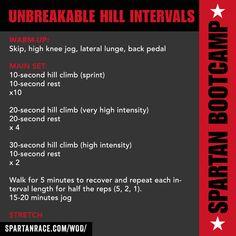 UNBREAKABLE HILL INTERVALS WOD   SPARTAN BOOTCAMP