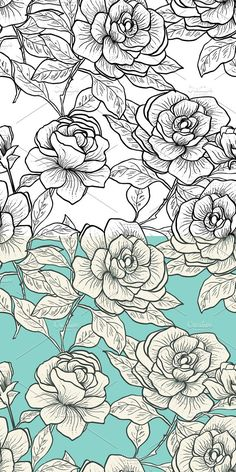 Welcome to Natikka Art! This set of hand painted 2 seamless patterns. Pattern Drawing, Pattern Art, Print Patterns, Rose Patterns, Floral Patterns, Cute Wallpapers, Wallpaper Backgrounds, Expos Paris, Old School Rose