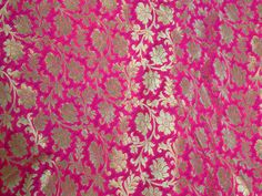 This is a beautiful pure benarse silk brocade floral design fabric in Magenta and Gold. The fabric illustrate small golden woven floral vines on Magenta. Fabric Names, Brocade Fabric, Couture, Magenta, Fabric Design, Floral Design, Pure Products, Etsy, Fabrics