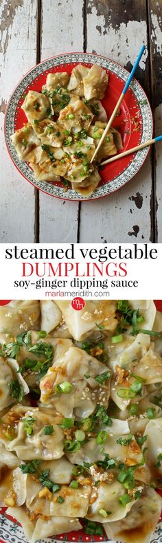 Steamed Vegetable Dumplings with Ginger-Soy Dipping Sauce recipe. Forget the take-out, these are way better! MarlaMeridith.com ( @marlameridith )