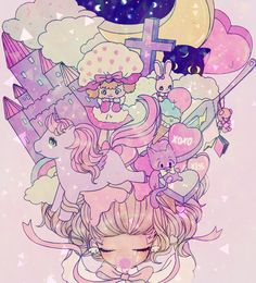✮ ANIME ART ✮ pastel. . .toys. . .moon. . .stars. . .hair. . .pacifier. . .ribbon. . .cute. . . kawaii