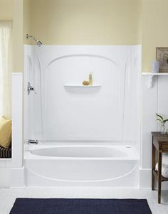 3 piece tub shower combo. soaker tub shower combination  Accord 7116 Bathtub Shower Combo With 20 Inch Apron From Sterling Tub and One Piece another Diamond option with more shelf