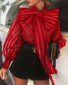 Women's fashion bow mesh gauze striped top Blouse – jollyluva spring shirts blouses outfit fall t shirts and jeans Trend Fashion, Womens Fashion, Style Fashion, Punk Fashion, Lolita Fashion, Fashion Beauty, Fashion Design, Outfit Elegantes, Chiffon Shirt