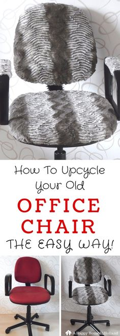 """DIY OFFICE CHAIR MAKEOVER - Ridiculously easy tutorial showing you how to transform your old boring swivel chair into a beautiful furry show piece!  Visit """"A Happy Home In Holland"""" for all the details!"""
