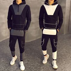 Yonglan Men Short Sleeve Hoodie Sweatshirt Set Tracksuit Outdoors Sport Gyms Casual Sportswear