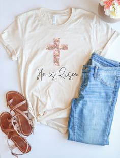 He Is Risen Easter Tee – Faithfully Planted Christian Clothing, Christian Shirts, Christian Apparel, Easter T Shirts, Jesus Shirts, He Is Risen, Easter Outfit, Vinyl Shirts, Cute Shirts