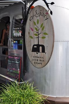raw & juicy organic juice bar & cafe in Seaside, Florida -- one of the Airstream food trucks. Coffee Shop, Coffee Carts, Coffee Truck, Smoothie Bar, Food Trucks, Airstream, Organic Juice Bar, Raw Juice Bar, Juice Cafe