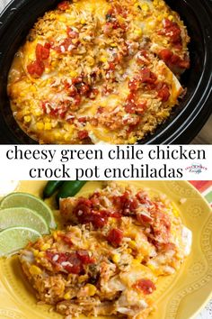 Cheesy Green Chile Chicken Crock Pot Enchiladas are an easy slow cooker dinner! Baked Chicken Recipes, Meat Recipes, Crockpot Recipes, Healthy Recipes, Recipies, Green Enchilada Sauce, Enchilada Recipes, Primal Blueprint Recipes, Green Chili Chicken