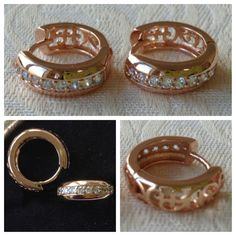 9K rose gold-filled hoop earrings with cut outs & CZ bling (also comes in white gold) @ AUD$12.00 + postage or local pick up available.