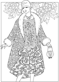 Creative Haven JAZZ AGE FASHIONS Coloring Book by: Ming-Ju Sun Coloring Page 1
