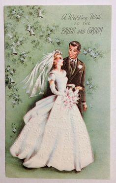 Pretty Bride Embossed Dress Handsom Groom 1950's Vintage Wedding Greeting Card