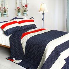 red white quilt set stripe | Navy Blue Red White Striped Teen Bedding Full/Queen Quilt Set ...