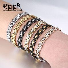 Stainless Steel Bracelet Men Punk Rock Jewelry High Quality Flat Pulseira Masculina Byzantine Chain Link Bracelets for Women
