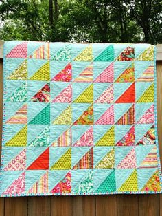 Crib Size Quilt, Southeast Triangles, Sweet Nothings, turquoise pink green, Girl, natural ingredients, READY TO SHIP