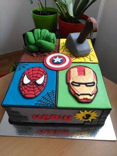 Avengers cake - cake by Slatkaradionica-Amra Avengers Birthday Cakes, Superhero Birthday Cake, 4th Birthday Cakes, 5th Birthday Party Ideas, Superhero Party, Marvel Cake, Marvel Avengers, Avenger Cake, Cake Minecraft