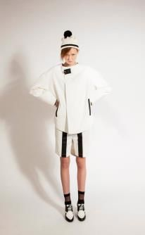 White asymmetrical Jacket with Digital Embroidery & Black Leather Patchwork  White Shorts with Black Leather Patchwork