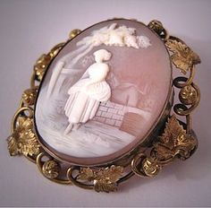 Large Antique Cameo Brooch Vintage Victorian by AawsombleiJewelry, $695.00