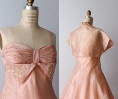 Vintage 1950s Dress / Strapless Dress / di TheVintageMistress