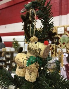 Your place to buy and sell all things handmade Country Christmas Crafts, Christmas Wreaths, Christmas Decorations, Christmas Ornaments, Holiday Decor, Wine Cork Ornaments, Wine Cork Crafts, Reindeer Ornaments, Craft Supplies