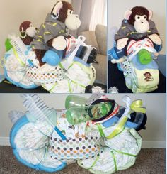 """Monkey riding Diaper Motorcycle for Boy's Baby Shower. Was Seahawks themed too so I added a Seahawks sippy cup as the light. The earrings say """"Baby."""""""