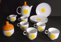 MID-CENTURY-ROSENTHAL-TEA-Pot-Dessert-SET-PUNKTAL-PLUS-KARNAGEL-Studio-Linie