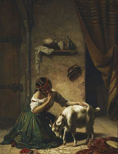 """William Gale (British painter) 1823 - 1909 The Spelling Lesson: Esmeralda et sa Chèvre, s.d. (aka The Spelling Lesson from Victor Hugo's Notre Dame de Paris) oil on hardboard 35 x 26.8 cm. signed l.l., oil """"W. Gale"""" Art Gallery of New South Wales, Sydney, Australia"""