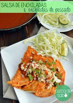 Salsa de enchiladas rojas + Enchiladas de guisadito de pescado fácil www.pizcadesabor.com