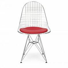 Eames Chrome DKR Wire Chair - red cushion
