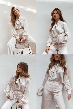 Gorgeous Bowie Satin Finish Co-ord Chloe Lloyd, High Fashion Trends, Personal Stylist, Bowie, Satin Finish, Makeup Looks, Knitwear, Stylists, Ruffle Blouse