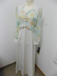 Vintage 70s White Halter Style Formal Maxi Dress with Sheer  Floral Jacket