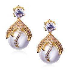 Mujeres Pendiente de la manera de oro plateado con Cubic zirconia blanco y perlas de imitación boda joyería Pendientes de gota envío gratis