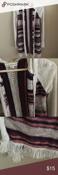 Long carpet styled cardigan Hooded cardigan with fringe on the bottom. Great condition. Brand If It Were Me if it were me Sweaters Cardigans