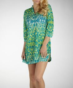 Take a look at this Cerulean & Green Hooded Cover-Up by Marika on #zulily today!